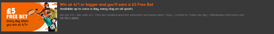 888sport £5 Free Bet promotion