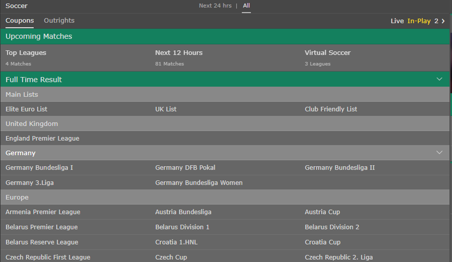 bet365 - Football game page for In-Play betting