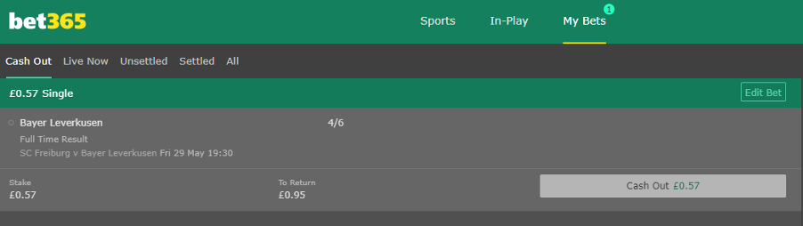 bet365 - Cashout options
