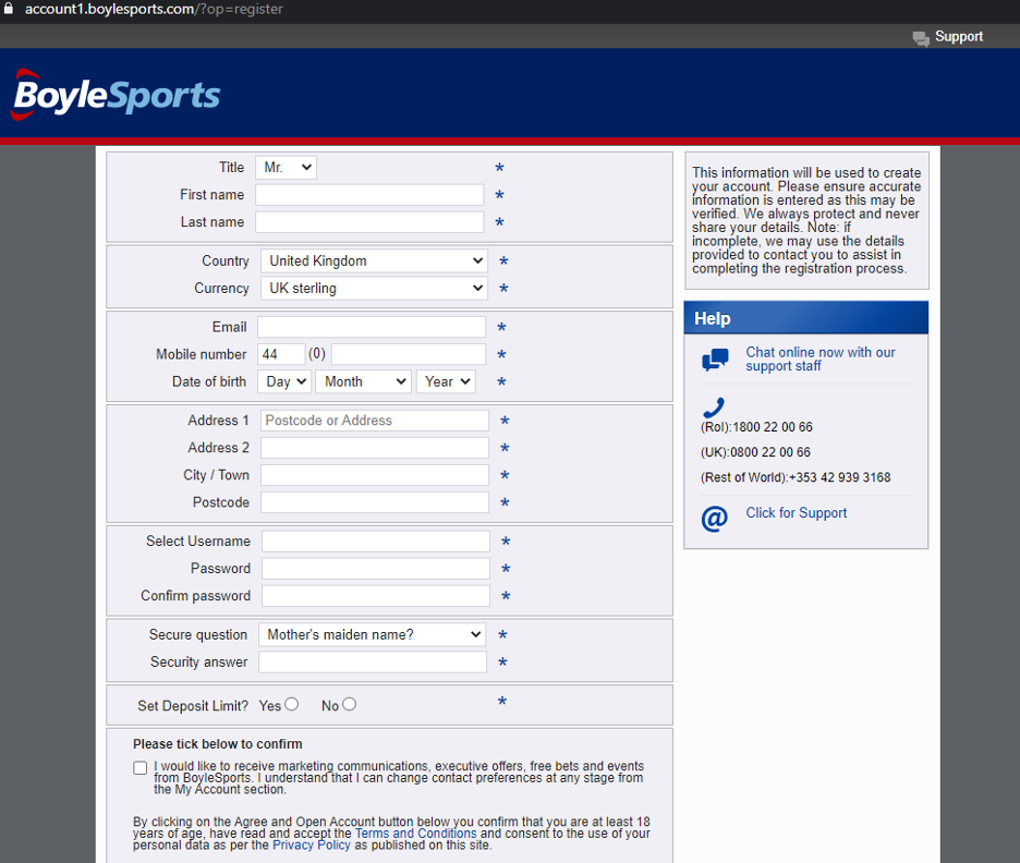 BoyleSports - Registration Step 1