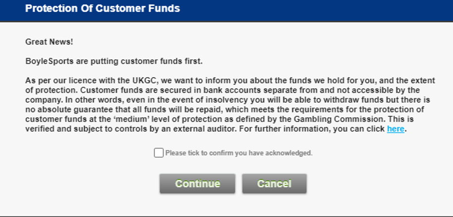 BoyleSports - Customer funds confirmation