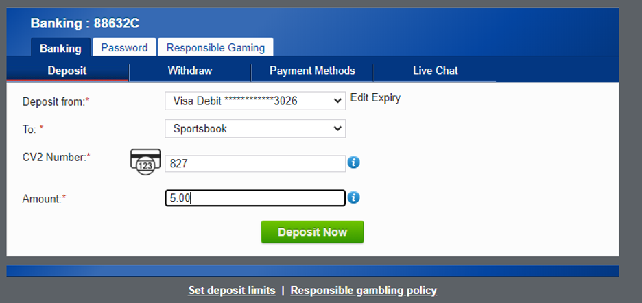 BoyleSports - Deposit funds