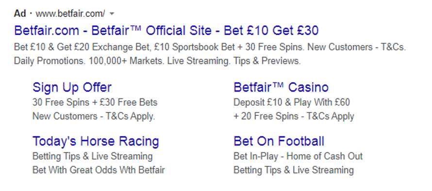 Betfair - Google search result with another new customer offer