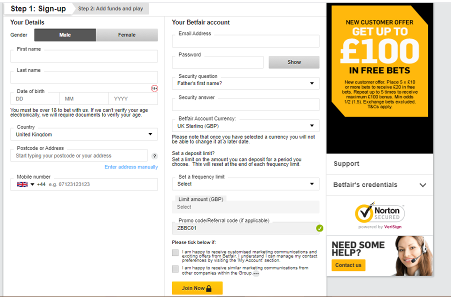 Betfair - Registration