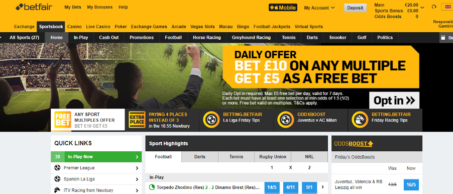 Betfair - Homepage Offers