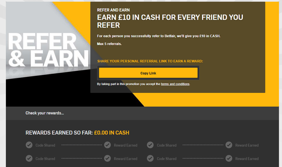 Betfair - Refer a friend scheme