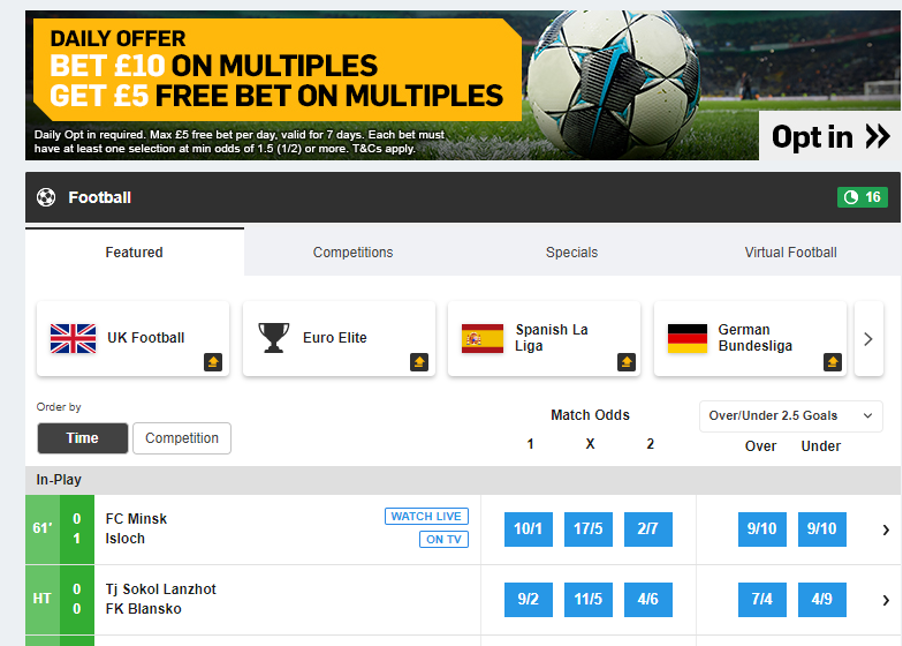 Betfair - Football page