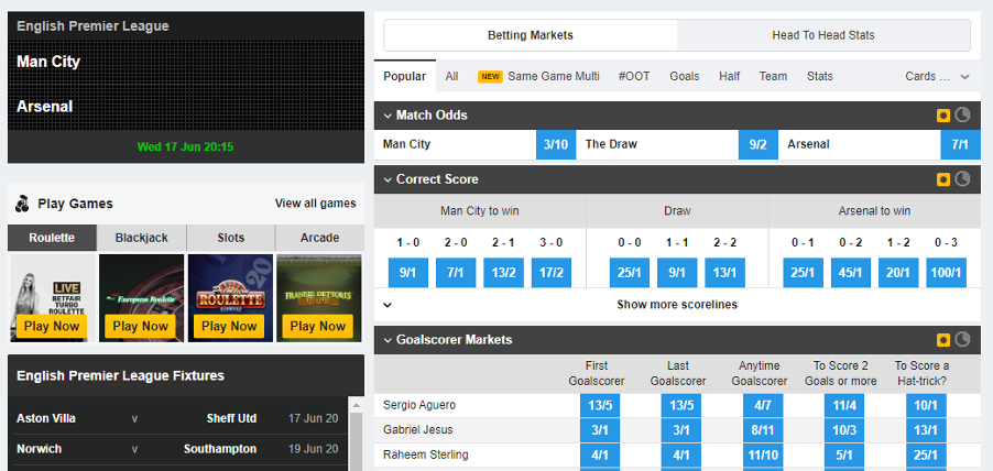 Betfair - Match markets