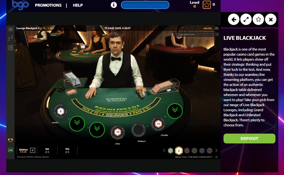bgo Casino - Live Blackjack Table