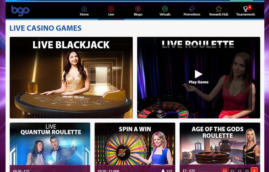 bgo Casino - Live Casino Homepage