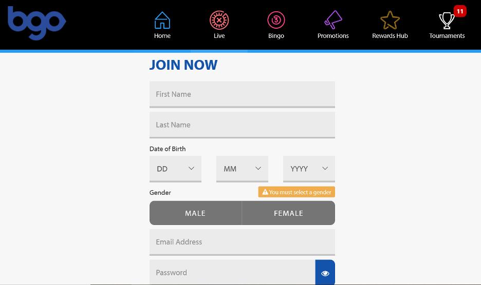 bgo Casino - Registration page
