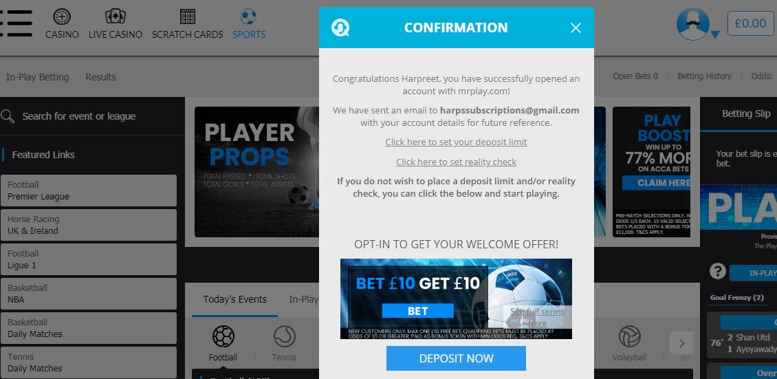 Mr Play - Registration Confirmation