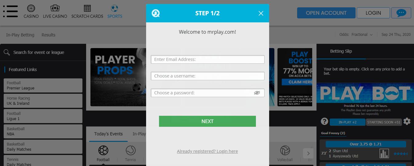 Mr Play - Registration Step 1