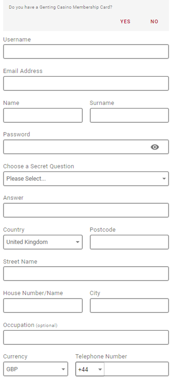 GentingBet - Registration Form Step 1
