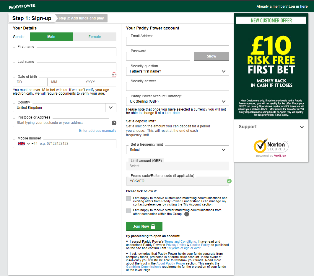 paddy-power-registration-page