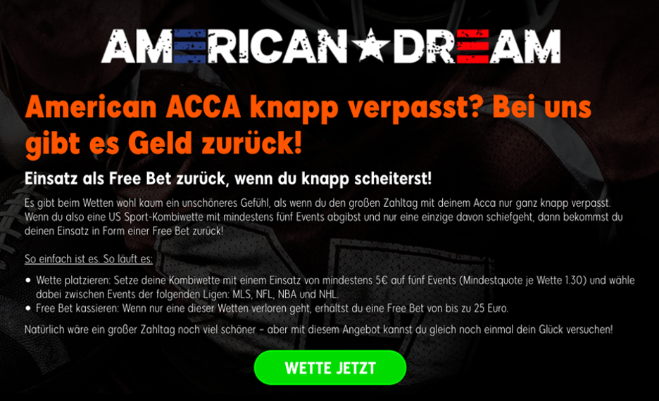 888sport – American Dream Acca Angebot
