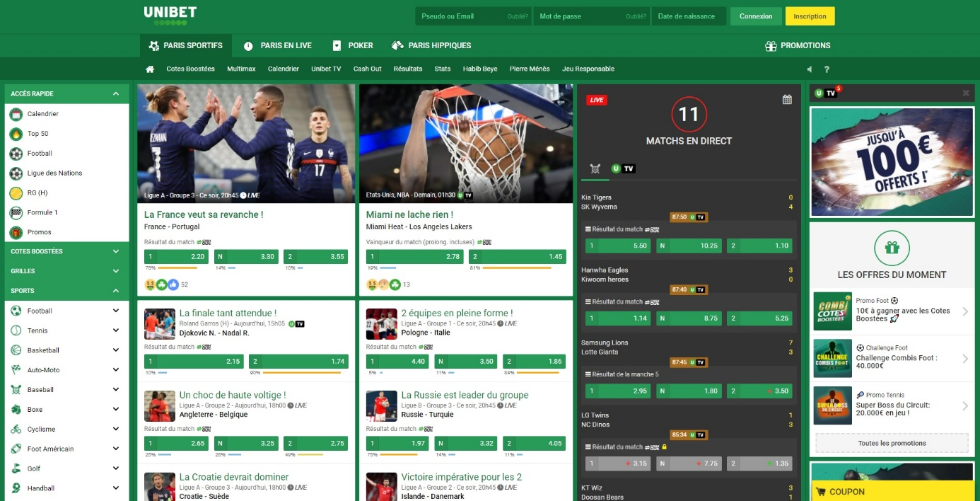 Unibet - Page Accueil